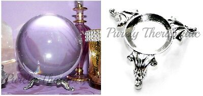 FANCY PEWTER CRYSTAL BALL STAND~display gemstone sphere wicca pagan spiritual