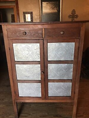 Beautiful Light wood Pressed Tin Pie Safe Antique Cupboard Original Tins