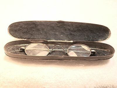 Civil War Steel Reading Glasses In A  Perfectly Original Felt Lined Tin Case!