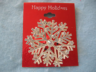 Happy Holidays Christmas Pin-Snowflake With Clear Rhinestones