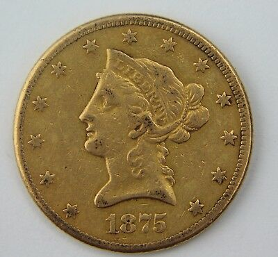 1875-CC Liberty Head $10 Ten Dollar Gold Eagle Key Carson City LOW MINTAGE RARE