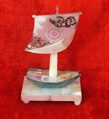 Antique Mother Of Pearl Shell Pocket Watch Holder In The Shape Of Sailing Boat