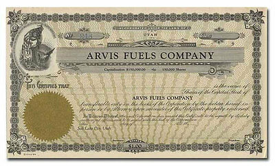 Arvis Fuels Company Stock Certificate