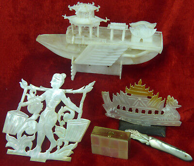Collection Of Antique Mother Of Pearl Shell Carvings, Box, Ship, Knife