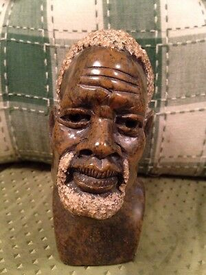 Vintage Carved Stone BUST Sculpture Man Figure Statue African American Folk ART