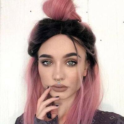 Synthetic Ombre Pink Bob Hair Short Straight Dark Roots Wigs for Women Party Wig