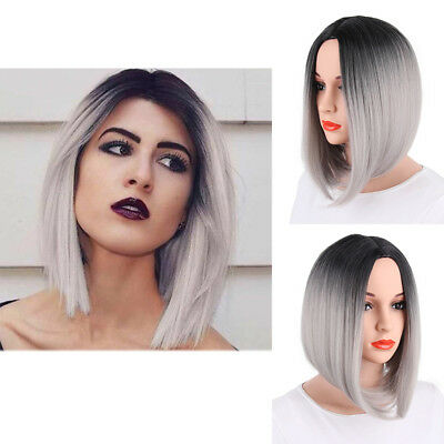 Synthetic Ombre Short Straight Bob Hair Two Tone Middle Part Wig for Women Party