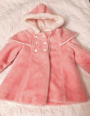 Vintage Style Pink Girl's  Winter Coat w/ Hood  Measurements Given  ~Size 4