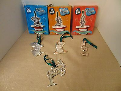Dr Seuss The Cat in the Hat Christmas Ornaments 4 Silver Plated Burger King