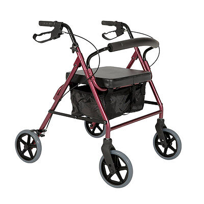 Cq Seat Walker Trekker Heavy Duty Steel Burgundy Handles Height Adjustable ,