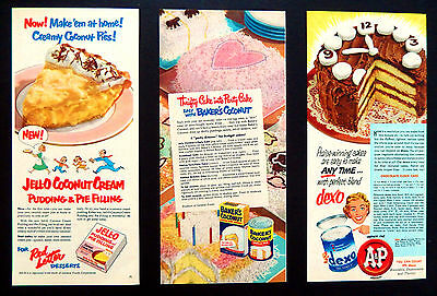 Vintage 1952 Jell-O Jello Bakers Coconut Dexo (3) advertisement print ad art