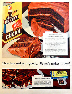 Vtg 1954 Bakers Baker's Cocoa chocolate recipe retro advertisement print ad art