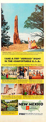 Vintage 1954 New Mexico travel vacation advertisement print ad art