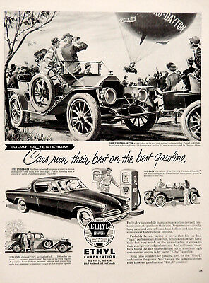 Vintage 1953 Ethyl gasoline classic car advertisement print ad art.