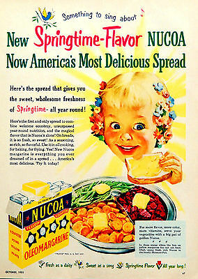 Vintage 1951 Nucoa margarine little girl advertisement print ad art