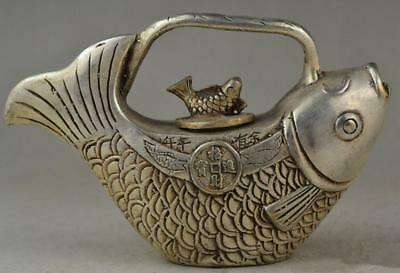 Collectible Decorated Old Handwork tibet silver Carved coin fish tea pot