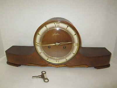 Antique Junghans Exacta Time And Strike, Key Wind Mantel Clock Made In German