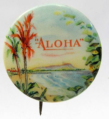 20's ALOHA Hawaii Promotion Committee advertising pinback button WITH backpaper