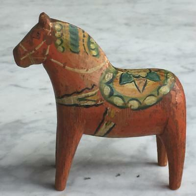 "BEAUTIFUL ANTIQUE SWEDISH c1900-1920s CARVED & PAINTED 4"" DALA HORSE /DALAHÄST"