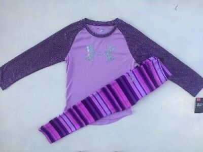 Girl's Size 6 Under Armour Purple Shirt & Striped Leggings Outfit Nwt