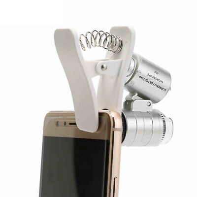 Phone Camera 60X Magnifier Clip-on LED Light UV Light for iPhone Samsung