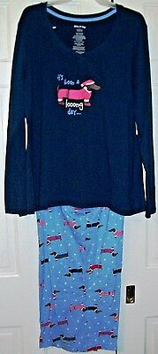 """""""It's Been a Long Day"""" Dachshund Doxie Dog Pajamas Size Large Long Sleeves MIP"""