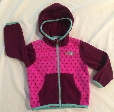 Baby Girl's THE NORTH FACE Fleece Jacket Pink Polka Dot Size 12-18 Months EUC