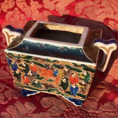 Antique Japanese Meiji Period Signed Kutani Porcelain Koro Incense Burner Censer