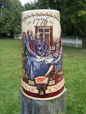 """1992 Miller Beer Stein """"birth Of A Nation"""" Declaration Of Independence"""