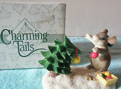 Charming Tails Please Just One More Fitz Floyd Mouse wi Christmas Tree Figurine