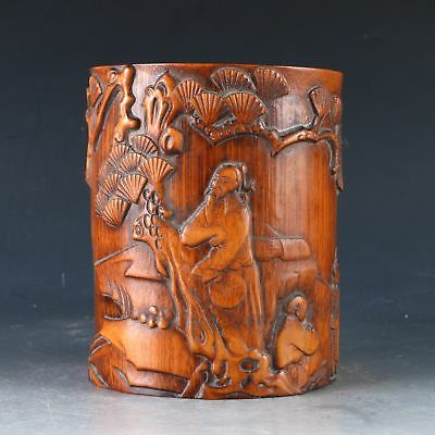 Chinese Bamboo Handwork Carved Man &  pine Brush Pot  DY0508