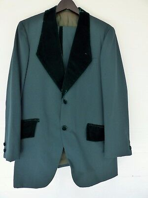 AMAZING Vintage 70s Green Velvet 3-Piece Tuxedo~Disco Pimp Blazer Smoking 38