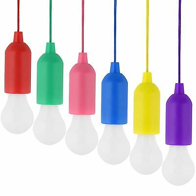 LED Bulb Light On A Rope Reading Lamp Colorful Battery Operated Pull Cord Handy