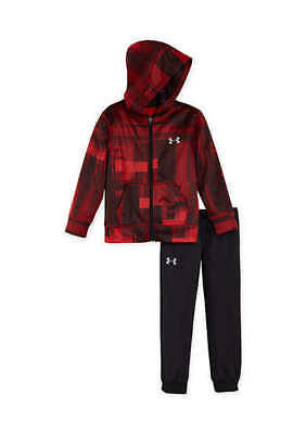 Boy's Size 5 Under Armour Red & Black Hoodie Jacket & Pants Suit Nwt