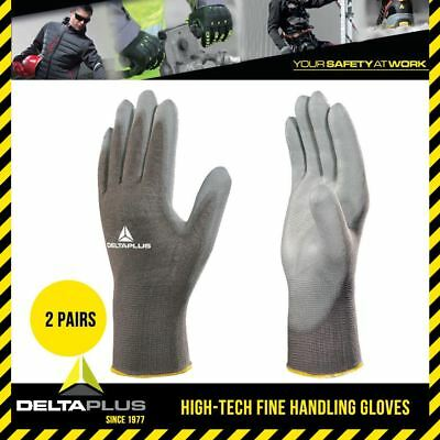 2 Pairs Delta Plus Safety Gloves Knitted PU Work Builders Grip Mechanics VE702