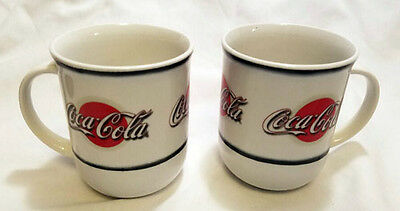 Coca-Cola 2002 Coffee Mugs Cups Coke Set Of 2 Stamped Sakura 10oz