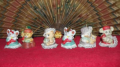 1972 Antique Dangle Leg Mothers w/Baby Animals Bell Christmas Ornaments/Bells