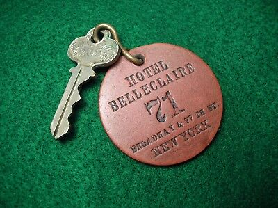 Antique Leather Hotel BELLECLAIRE Key Fob w/ Key Old NYC-  BROADWAY & 77th