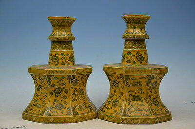 pair beautiful chinese hand-painted  Porcelain Candle Holders