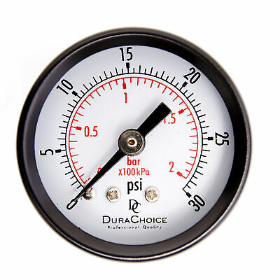 "1-1/2"" Utility Pressure Gauge - Blk.Steel 1/8"" NPT Center Back 30PSI"