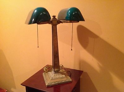 Emeralite model 8734 double bankers lamp with shade McFaddin New York