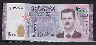 Syria New Issue 2000 Pounds Syrian Banknotes Siria Syrien Syrie シリア S/N 5000601