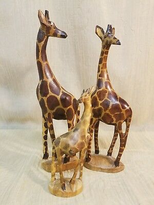 Hand Carved Hand Painted Set Of Three Safari Giraffe Family Figures