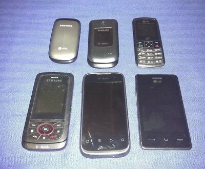 Lot of 6 GSM Cell Phones T-Mobile Trac Phone LG Samsung Used