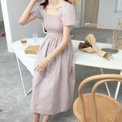 Women New Square Neck Summer Wear Plaid Vintage Beach Long Dress
