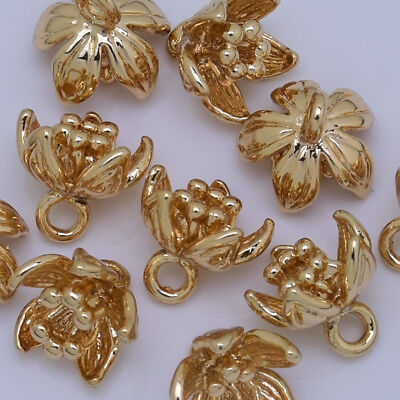 24k Gold plated Brass flower Bud charm Handmade necklace 7*9mm 10pcs 10201505