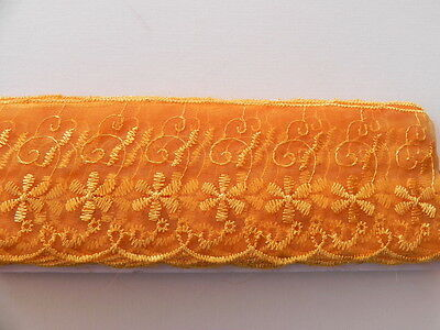 Orange Silky embroidered Lace - 6cm