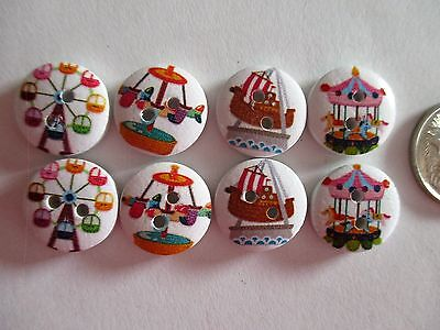 8 x 15mm Painted Wooden Buttons - CARNIVAL RIDES - 2 Holes  No.928