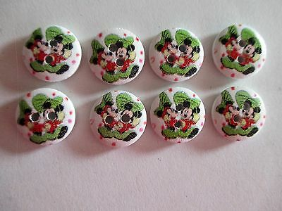 8 x 15mm Painted Wooden Buttons - MICKEY & MINNIE - 4 Holes  No.930