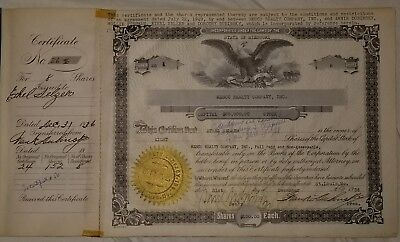 Rare 1936 United States, Mesco Realty Co. $100 Stock 8 Shares & Documentary